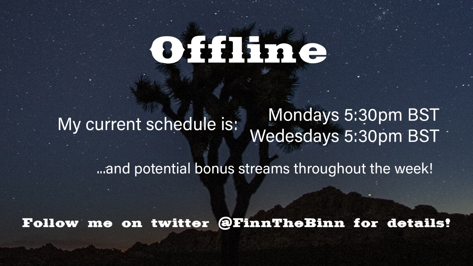 FinntheBinn twitch channel - schedule
