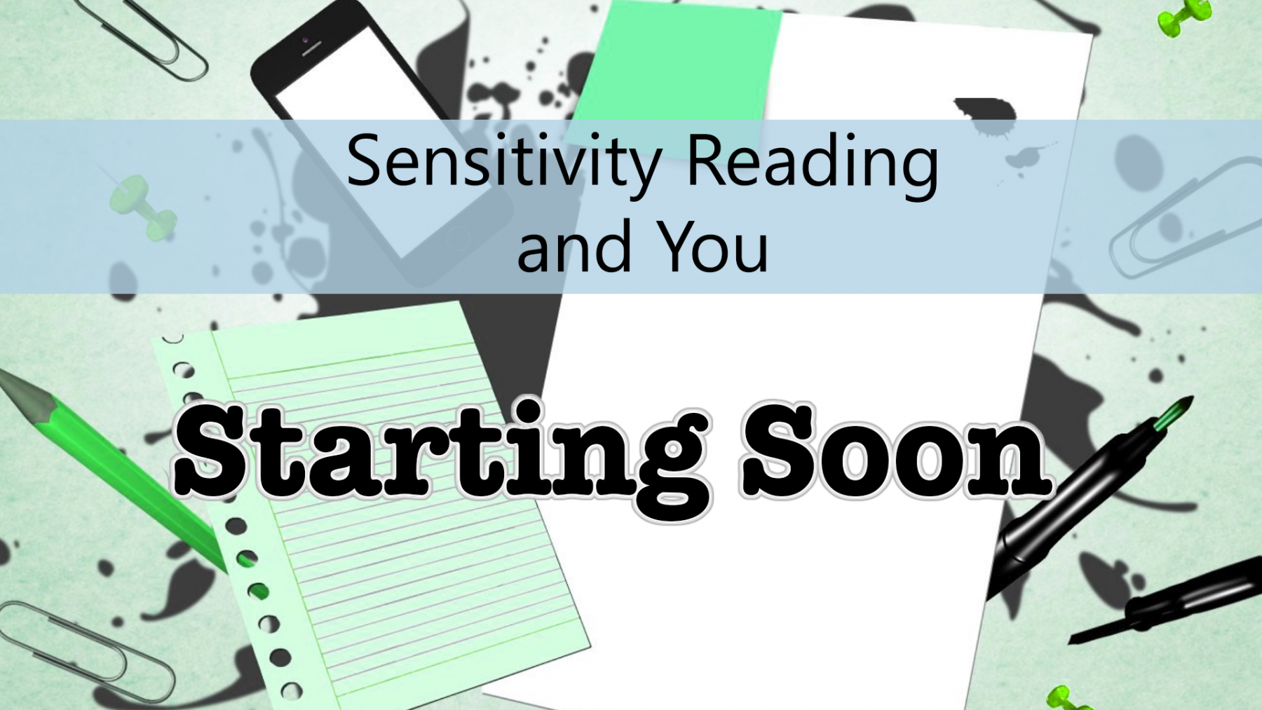 Sensitivity Reading seminar - Intro screen
